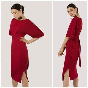 ⭐NWT⭐ Raspberry Red Kimono Slit Midi Dress